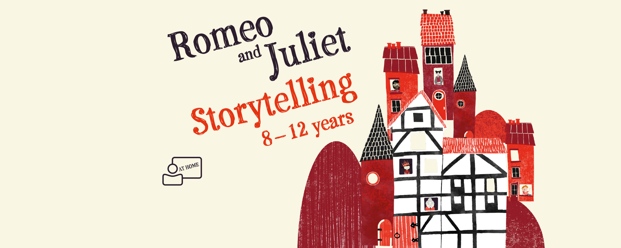 Text: Romeo and Juliet 8 - 12 years with an illustration of the Globe
