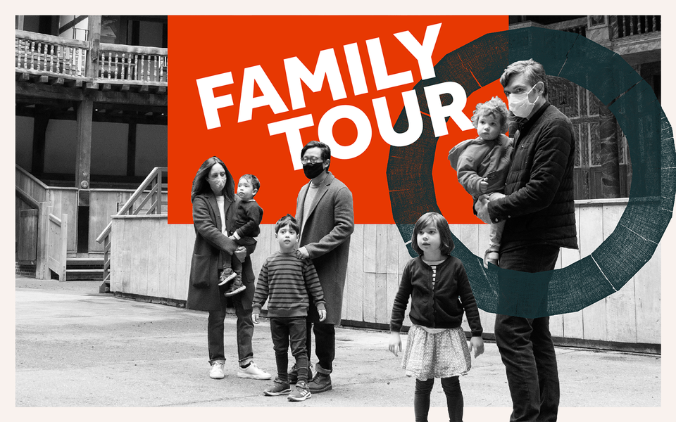 A couple of families stand in front of a stage and the words 'Family Tour' appear across a red box at the top of the image