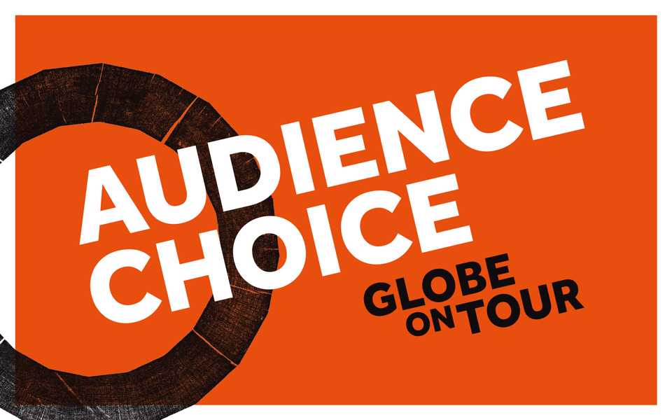 A red, black and white graphic with the words audience choice in all capital letters