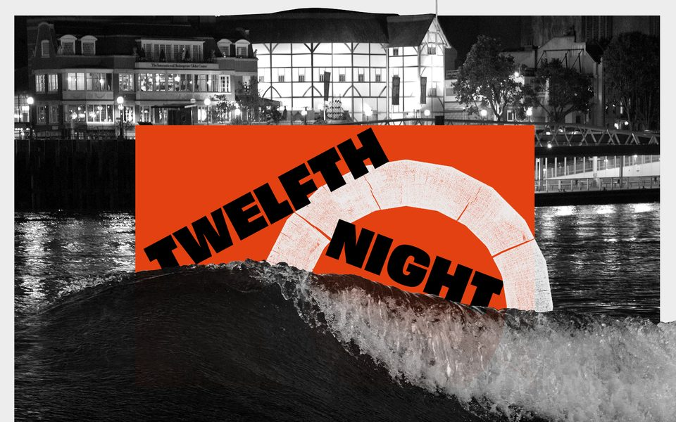 A theatre sits by a river and wave crashes up around the words Twelfth Night
